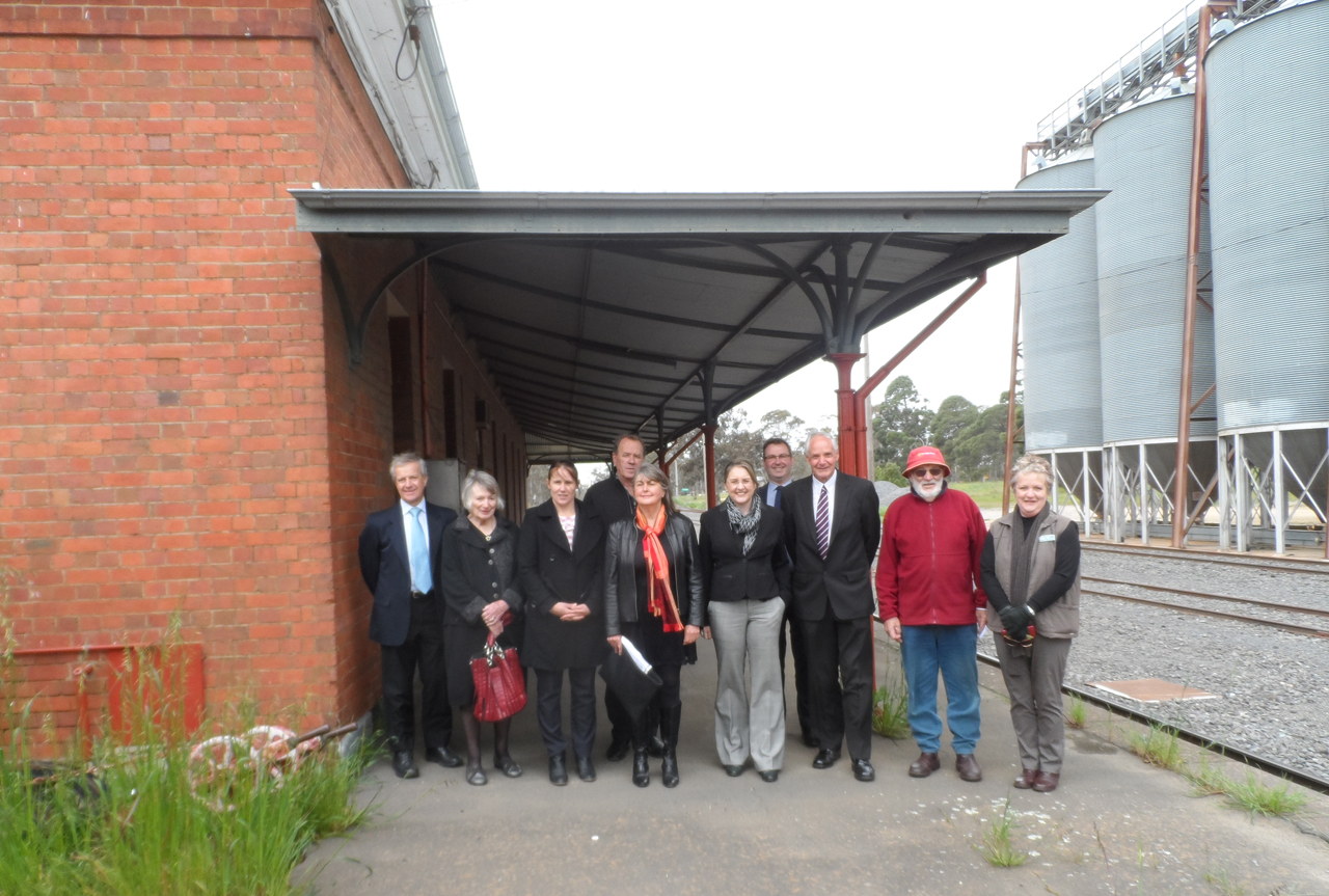Group photo from the event to announce heritage works at St Arnaud Station