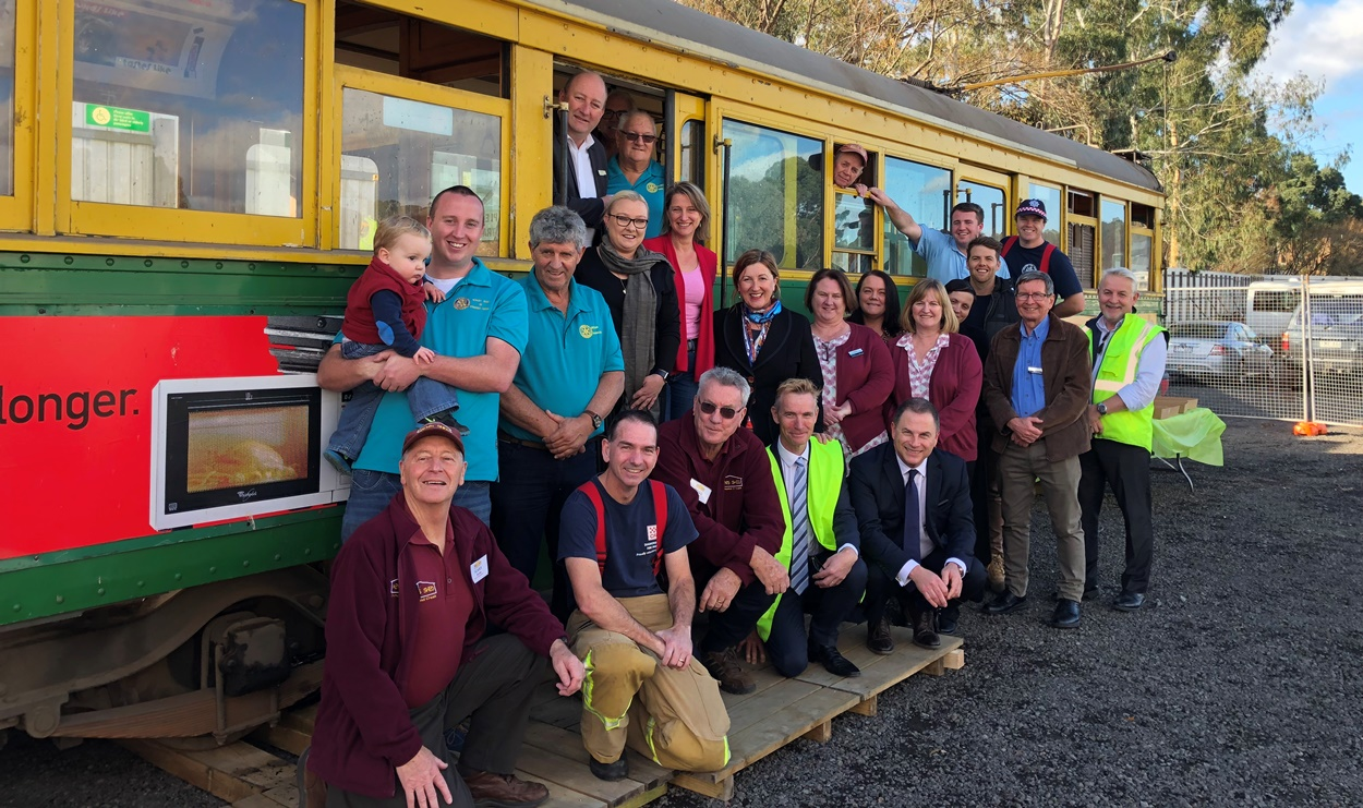 Diamond Creek community groups with their retired tram